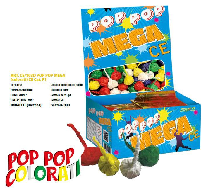 POP POP MEGA COLORATI 50 PZ PETARDI MARCHIO CE 25 PZ
